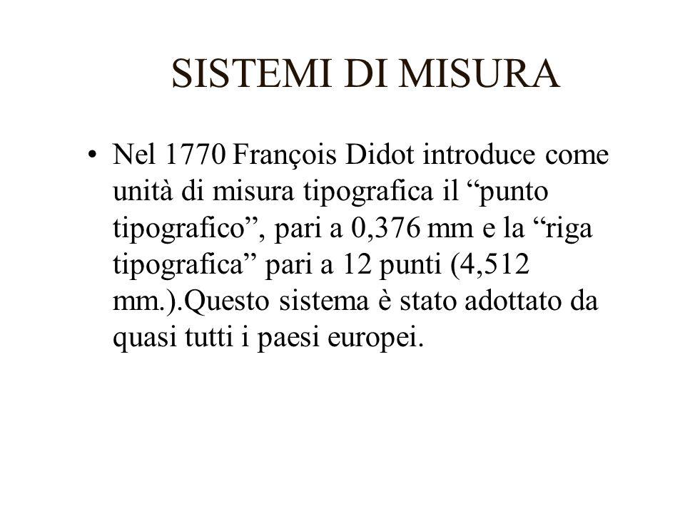 SISTEMI DI MISURA 2 Nei paesi anglosassoni si usa invece il sistema Pica basato su un punto tipografico di 0,3527 mm e una riga di 4,2324 mm (pari alla sesta parte di un pollice).