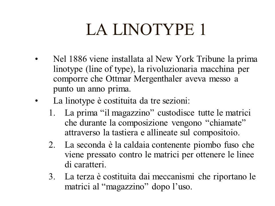 LA LINOTYPE 2 Le correzioni vengono apportate sostituendo le righe che contengono gli errori.