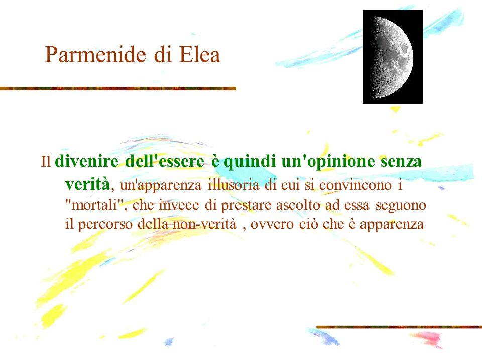 Parmenide di Elea il nulla non può esistere come tale e nessuna cosa può derivare dal nulla o nel nulla terminare la sua esistenza, per la semplice ragione che il nulla non cè.