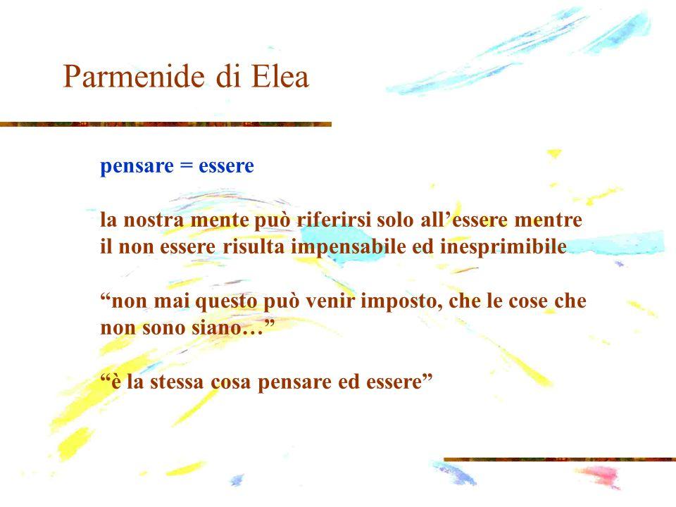 Parmenide di Elea La conoscenza Alétheia = ciò che non è nascosto, e fa riferimento alla realtà dellessere.