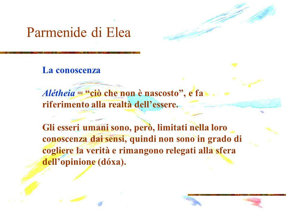 Parmenide di Elea La conoscenza dóxa = indicare qualsiasi conoscenza umana e quindi qualsiasi proposizione che la esprime, che implica lesistenza del non-essere.