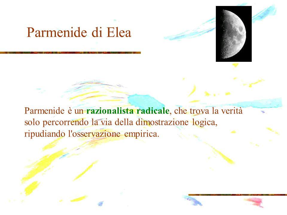 Parmenide di Elea la sua scoperta deve essere argomentata a priori, con una dimostrazione coerente e conseguente: a)solamente ciò che è, è; b)il nulla non esiste, perché dal nulla non può nascere nulla; c)non esiste lo spazio vuoto; d)il mondo (l Essere) è pieno; e)il movimento e il mutamento sono impossibili; f)se il mondo è pieno non c è spazio né per il movimento, né per il mutamento.
