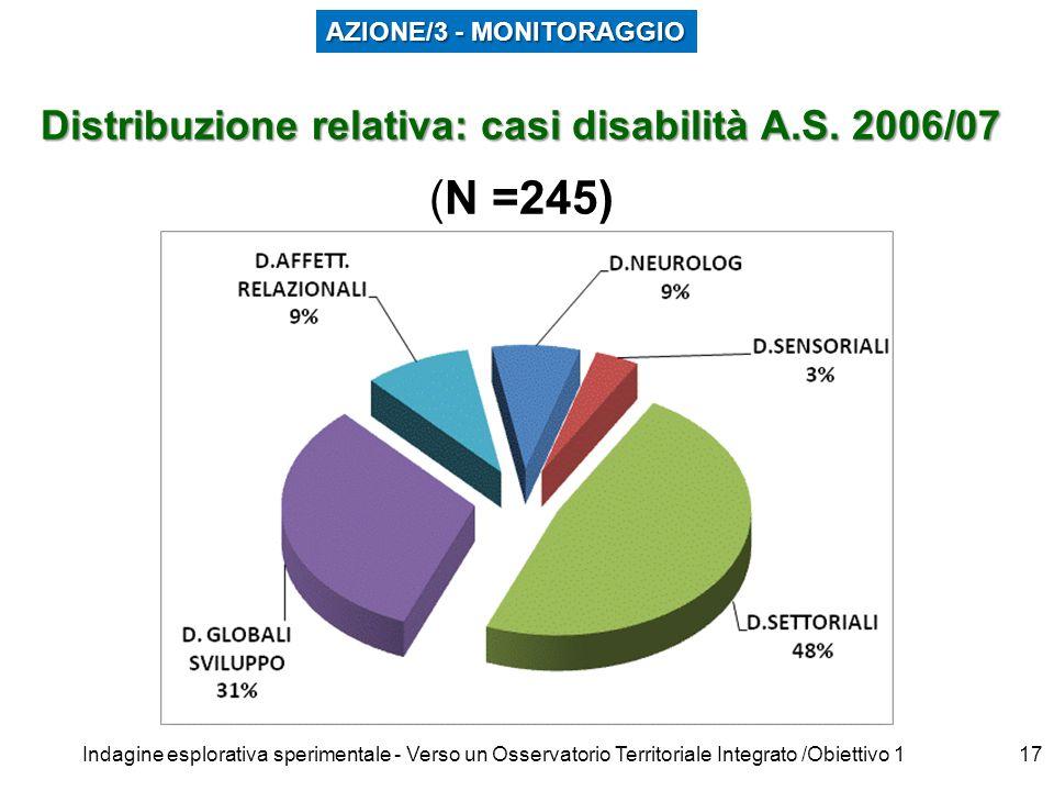 Indagine esplorativa sperimentale - Verso un Osservatorio Territoriale Integrato /Obiettivo 117 Distribuzione relativa: casi disabilità A.S.