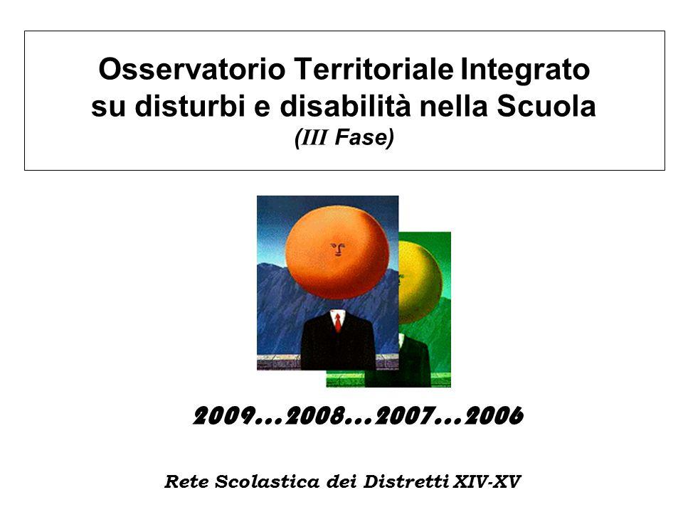 Osservatorio Territoriale Integrato su disturbi e disabilità nella Scuola ( III Fase) 2009…2008…2007…2006 Rete Scolastica dei Distretti XIV-XV
