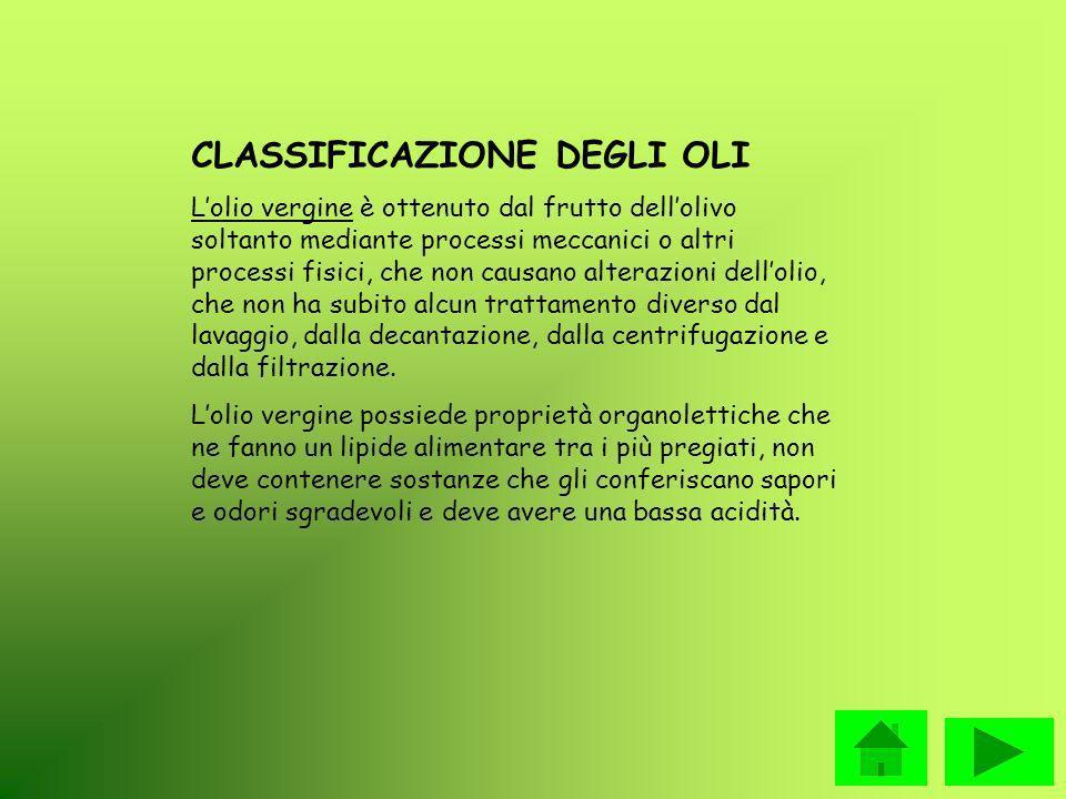Detti oli di oliva sono oggetti della classificazione e denominazione seguenti: Olio extra vergine di oliva: olio di oliva vergine la cui acidità libera espressa in acido oleico, è al massimo di 1g per 100g di olio.
