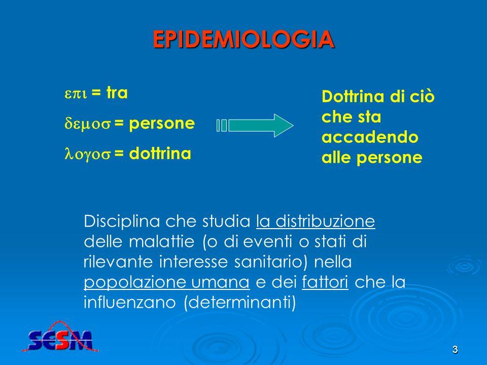 3 EPIDEMIOLOGIA = tra = persone = dottrina Dottrina di ciò che sta accadendo alle persone Disciplina che studia la distribuzione delle malattie (o di eventi o stati di rilevante interesse sanitario) nella popolazione umana e dei fattori che la influenzano (determinanti)