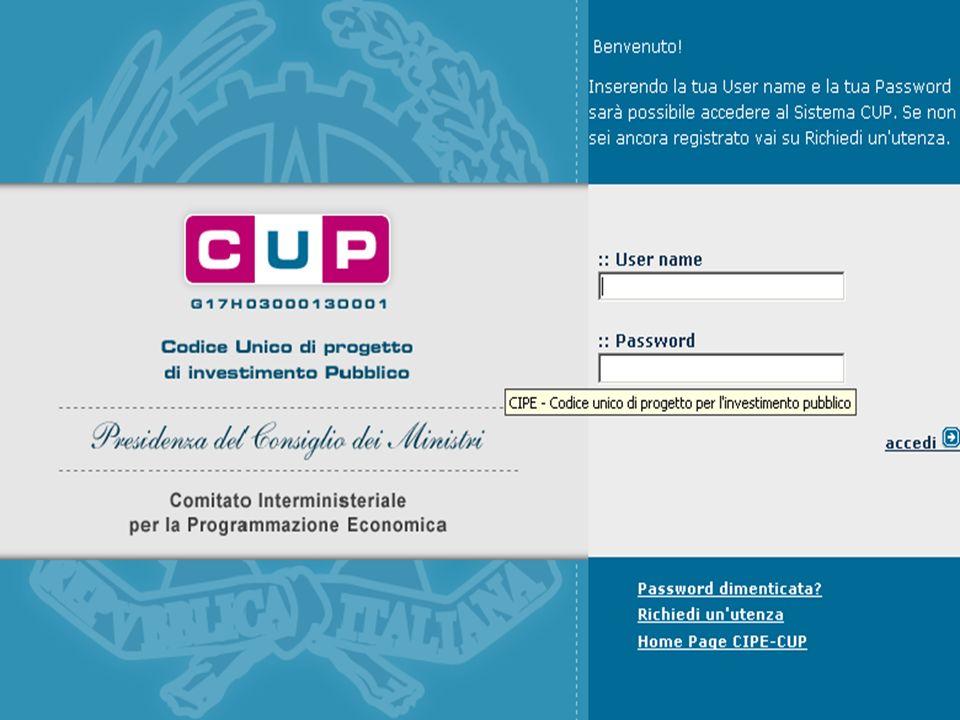 Dalla home page del sito http://cupweb.tesoro.it/CUPWeb/ Inserire User name e password Cliccare su – Genera CUP completo Seguono 6 step IL CODICE UNICO DI PROGETTO (CUP) UNIMI