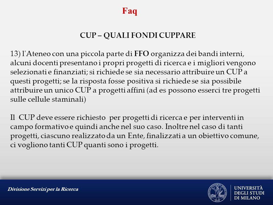 Divisione Servizi per la Ricerca Faq CUP e CO-FINANZIAMENTO 1)In caso di progetti co-finanziati che importo occorre segnalare.