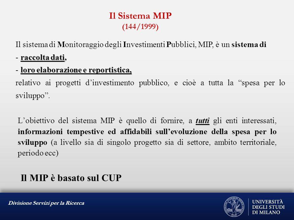 Divisione Servizi per la Ricerca IL CODICE UNICO DI PROGETTO (CUP) L.