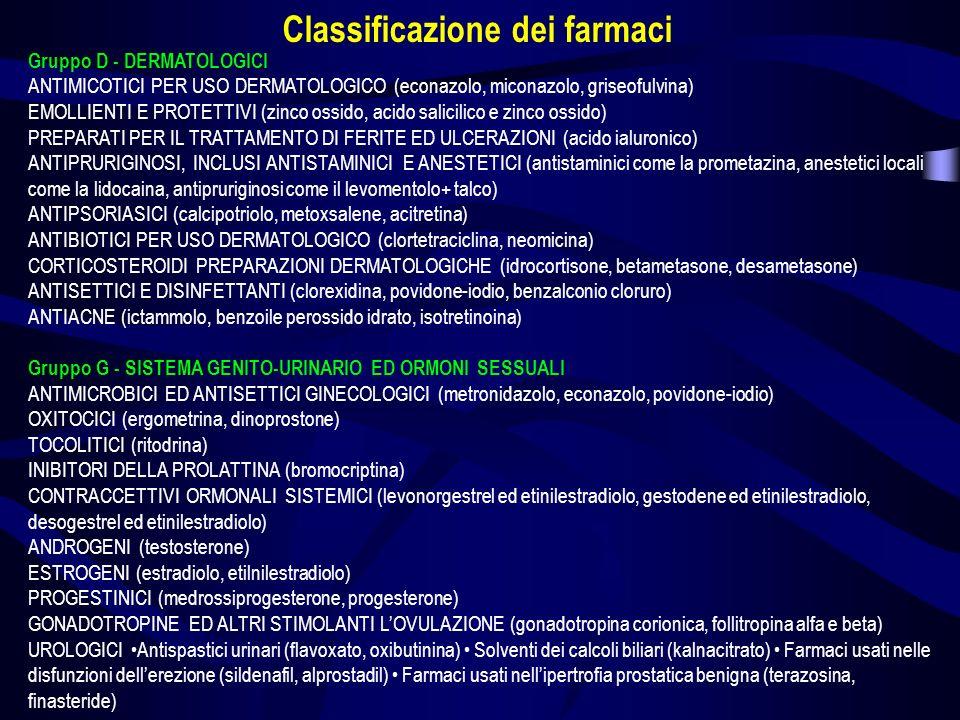 Gruppo H - PREPARATI ORMONALI SISTEMICI ESCLUSI ORMONI SESSUALI ORMONI IPOFISARI, IPOTALAMICI ED ANALOGHI (ormoni ipofisari come la ACTH-adrenocorticotropina, e la vasopressina, ormoni ipotalamici come la somatostatina) CORTICOSTEROIDI SISTEMICI (mineralcorticoidi come il desossicortone, ed i glucocorticoidi come il cortisone ed il betametasone) TERAPIA TIROIDEA Preparati tiroidei (levotiroxina sodica) Preparati antitiroidei (tiamazolo) Terapia iodica (iodiocaseina+tiamina) ORMONI PANCREATICI (glucagone) CALCIO-OMEOSTATICI (calcitonina) Gruppo J - ANTIMICROBICI GENERALI PER USO SISTEMICO ANTIBATTERICI (classi di farmaci: tetracicline, penicilline, cefalosporine, sulfamidici, macrolidi, antibiotici aminoglicosidici, fluorochinoloni, antibiotici glicopeptidici) ANTIMICOBATTERICI (isoniazide, rifampicina) ANTIVIRALI (aciclovir, zidovudina) SIERI IMMUNI ED IMMUNOGLOBULINE (come sieri il siero antivipera Pur.Nism, e come immunoglobuline le IG- gamma, le IGM, antitetanica, ecc.) VACCINI Batterici (vaccini dellHemophilus influenzae tipo B, vaccino meningococcico tetravalente, vaccino difterico- tetanico-pertosse) Virali (vaccino dellinfluenza, dellepatite A e B, vaccino del morbillo-parotite-rosolia, vaccino poliomielitico) Classificazione dei farmaci