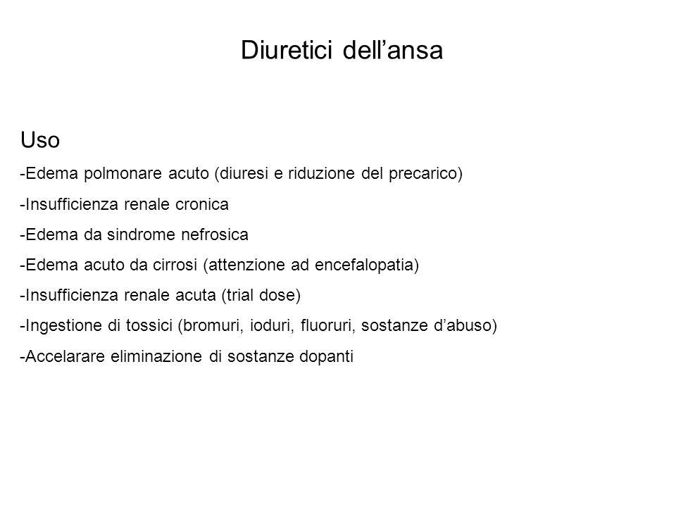 Diuretici dellansa Tossicità Rara per lo più da squilibri elettrolitici -IpoNaemia: deplezione di fluidi extracellulari con ipotensione, riduzione GFR, collasso, encefalopatia (in epatopatici) -Alcalosi metabolica ipoKemica da eccesso di secrezione H e K -IpoKemia -IpoMagnesemia in uso cronico -IpoCaemia (precipita condizione) -Ototossicità reversibile -Iperuricemia: da riassorbimento prossimale per ipovolemia -Iperglicemia (specie con sulfaniluree) -Alterazioni crasi lipidica: aumentano trigliceridi e LDL, diminuiscono HDL -Interazioni con altri farmaci: aminoglicosidici e cisplatino (ototox); digitale (ipoK), litio (potenzia), probenecid (riduce gli effetti dei diuretici dellansa)