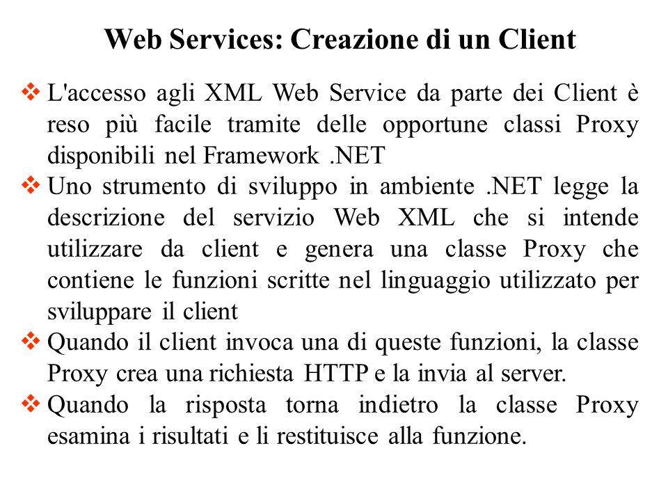 In fase di programmazione, viene generato un oggetto Proxy dalla descrizione di un servizio Web XML Web Services: Creazione di un Client Programma Client Proxy 3.Il proxy converte le chiamate in XML e HTTP e li invia su Internet 4.Il proxy riceve i risultati in XML su HTTP e li converte in valori di ritorno 5.