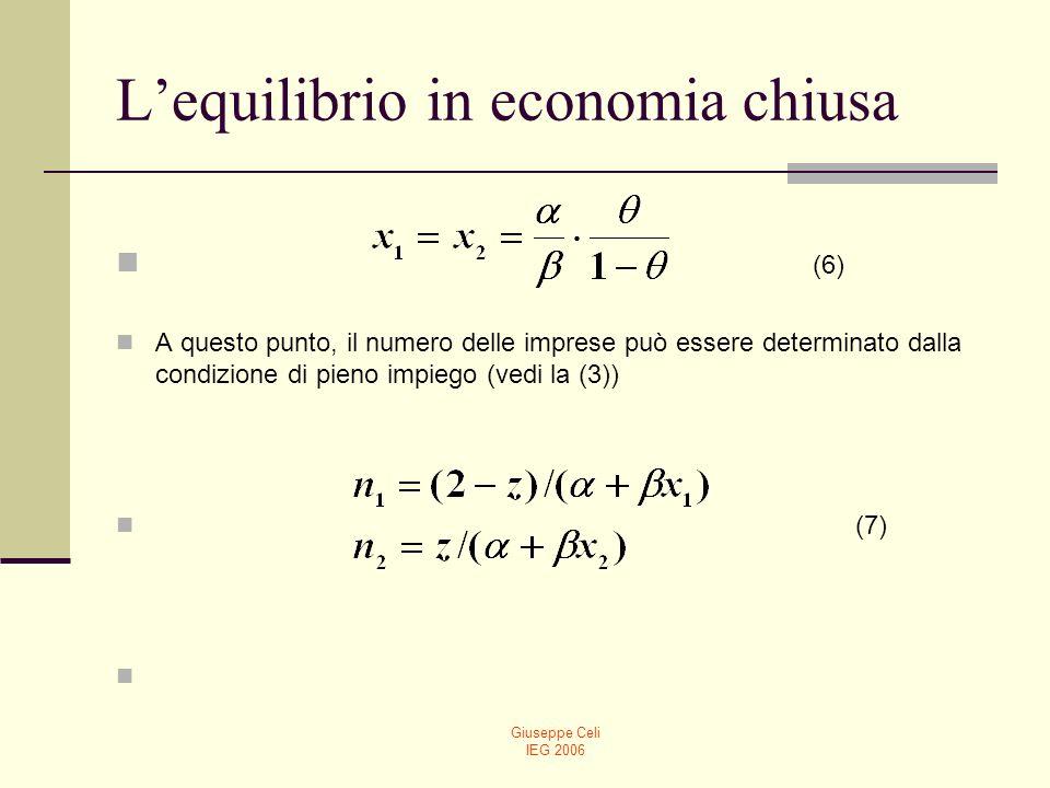 Giuseppe Celi IEG 2006 Equilibrio in economia chiusa Assumendo che ciascuna industra riceva lo stesso ammontare di spesa, sotto lipotesi di profitti nulli, tutti i guadagni saranno incamerati dai lavoratori: w 1 L 1 = w 2 L 2.