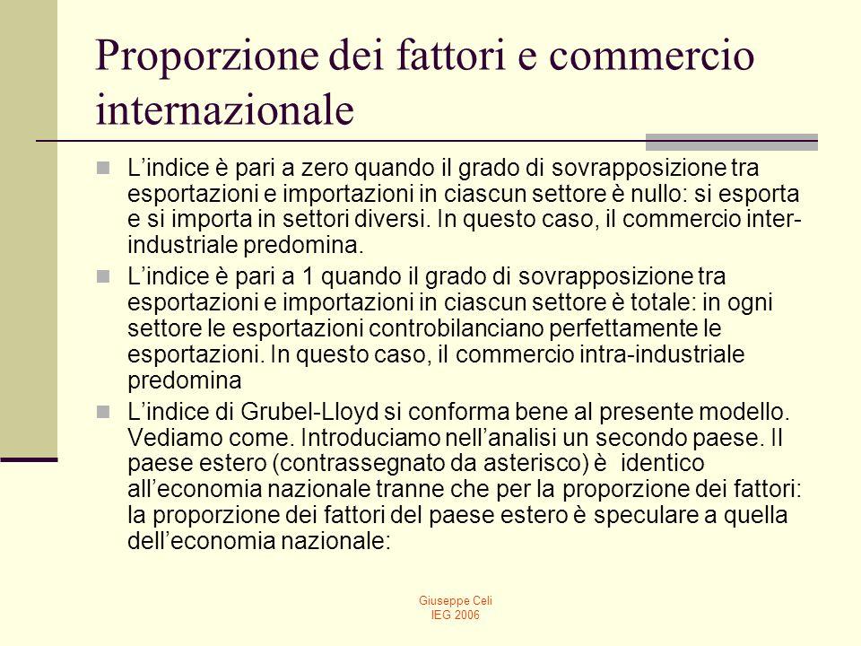 Giuseppe Celi IEG 2006 Proporzione dei fattori e commercio internazionale (10) E evidente che, in questo modo, il parametro z può essere opportunamente manipolato al fine di pervenire a similarità o dissimilarità tra paesi della dotazione relativa dei fattori.