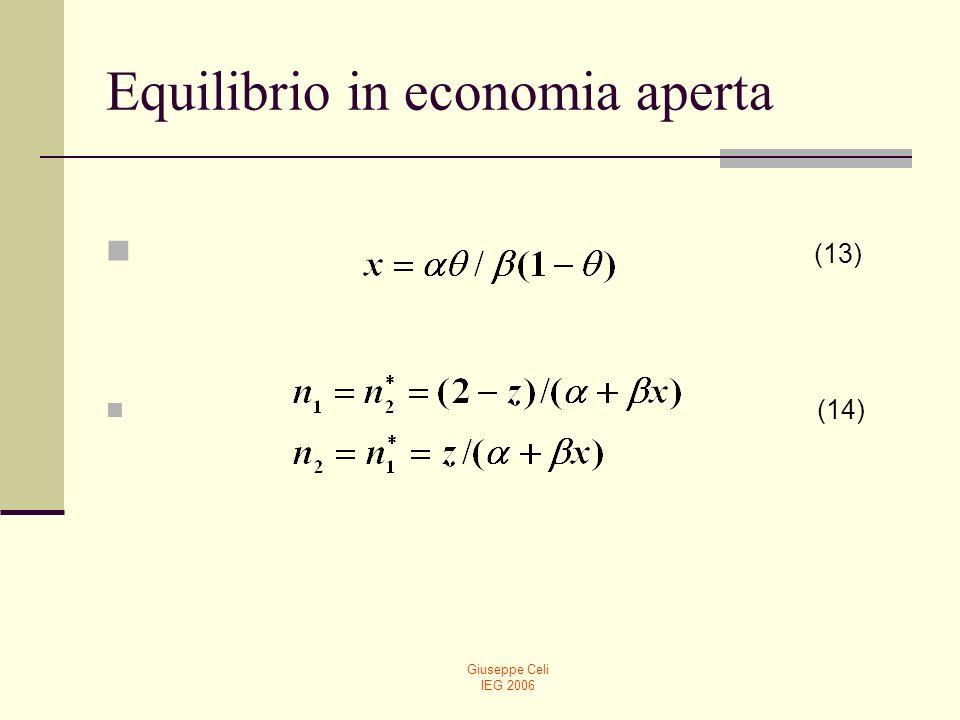Giuseppe Celi IEG 2006 Equilibrio in economia aperta Lapertura al commercio internazionale porta allequalizzazione del prezzo dei fattori.