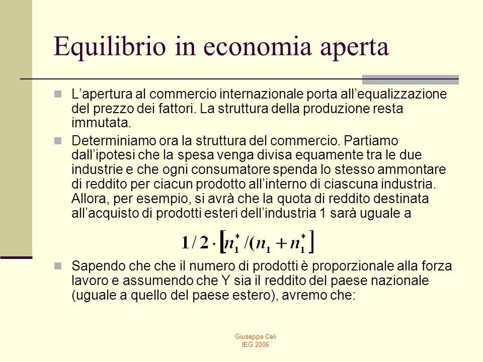 Giuseppe Celi IEG 2006 Equilibrio in economia aperta (15) Le equazioni (15) hanno importanti implicazioni.