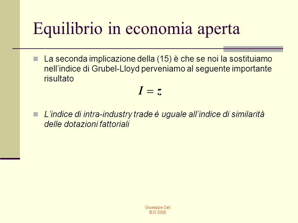 Giuseppe Celi IEG 2006 Gli effetti di welfare del commercio internazionale Lultimo punto da affrontare è quello del problema distributivo associato al commercio internazionale.