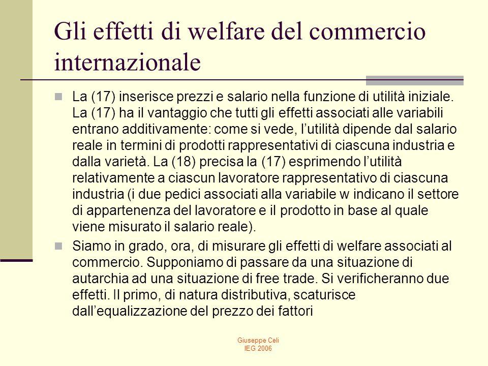 Giuseppe Celi IEG 2006 Gli effetti di welfare del commercio internazionale Come si può facilmente verificare, il salario reale rimane lo stesso in termini del prodotto della propria industria di appartenenza, mentre crescerà o diminuirà in termini del prodotto dellaltra industria a seconda che il fattore sia abbondante o scarso.