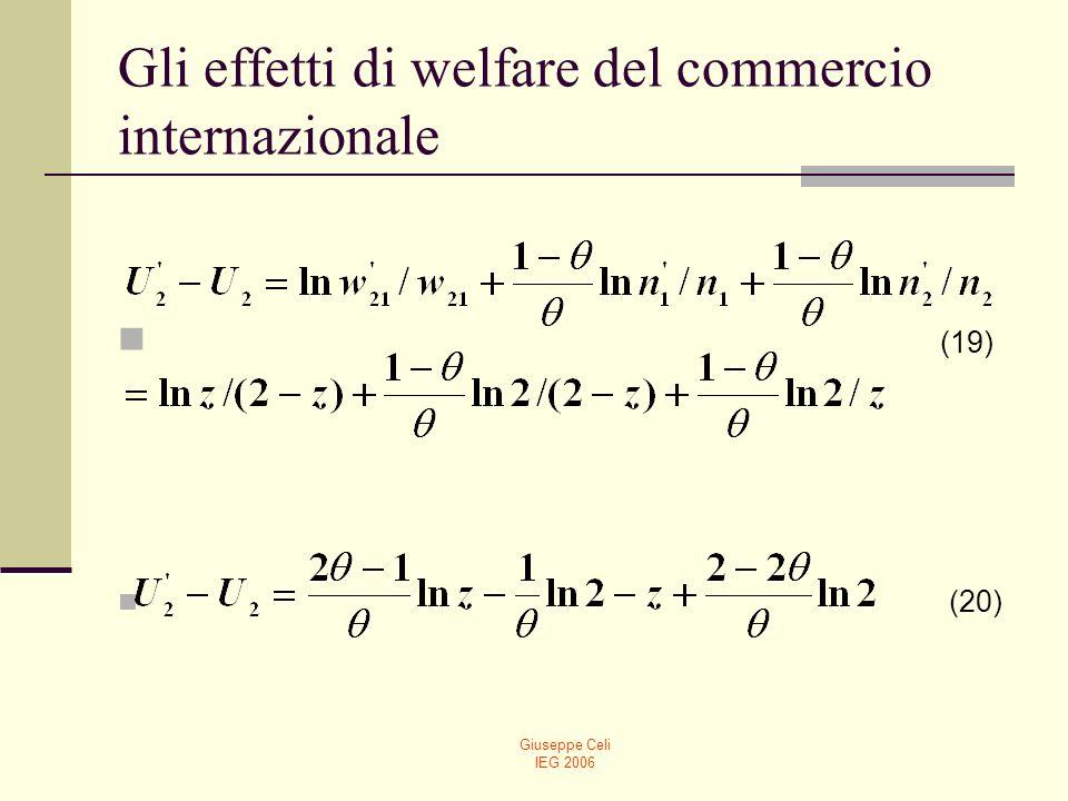 Giuseppe Celi IEG 2006 Gli effetti di welfare del commercio internazionale La (20) fornisce un risultato immediato: se θ<0.5, il fattore scarso trae vantaggio dal commercio (infatti, il primo termine è positivo e il terzo termine, positivo, sovrasta il valore negativo del secondo).