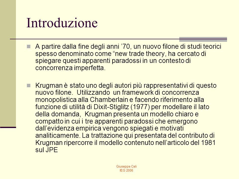 Giuseppe Celi IEG 2006 Il modello di Krugman: le ipotesi riguardanti il lato della domanda 2 industrie (1 e 2), ognuna delle quali consiste di una grande varietà di prodotti diffrenziati.