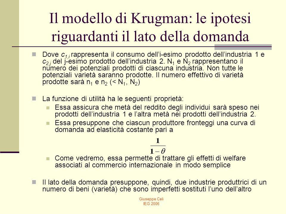 Giuseppe Celi IEG 2006 Il modello di Krugman: le ipotesi riguardanti il lato dellofferta Il lato dellofferta presuppone due fattori di produzione: lavoro di tipo 1 e lavoro di tipo 2.