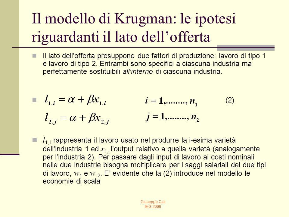Giuseppe Celi IEG 2006 Il modello di Krugman: le ipotesi riguardanti il lato dellofferta Assumendo il pieno impiego dei fattori produttivi, abbiamo: (3) Si assume, quindi, che la forza lavoro totale sia uguale a 2.