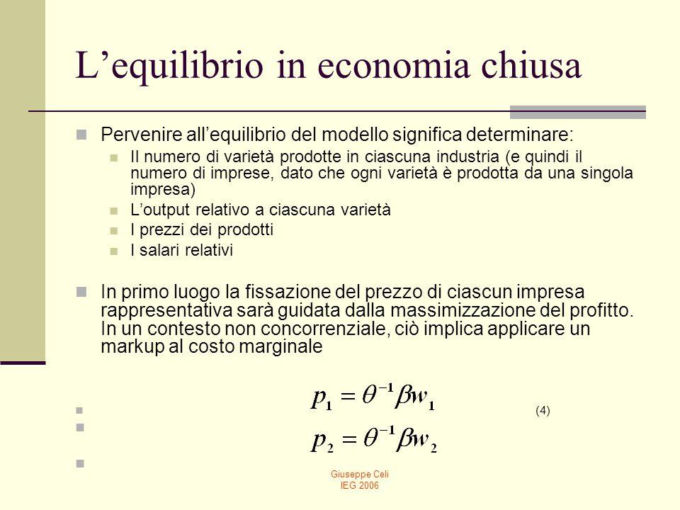 Giuseppe Celi IEG 2006 Lequilibrio in economia chiusa Inoltre, se si assume che i profitti delle imprese rappresentative nelle due industrie sono dati da (5) e se si fa lipotesi di libertà di entrata e quindi di profitti nulli: è possibile derivare, utilizzando la (4) e la (5), la dimensione di equilibrio delle imprese rappresentative: