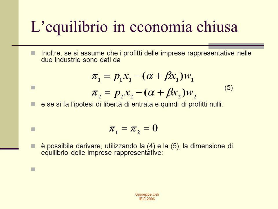 Giuseppe Celi IEG 2006 Lequilibrio in economia chiusa (6) A questo punto, il numero delle imprese può essere determinato dalla condizione di pieno impiego (vedi la (3)) (7)
