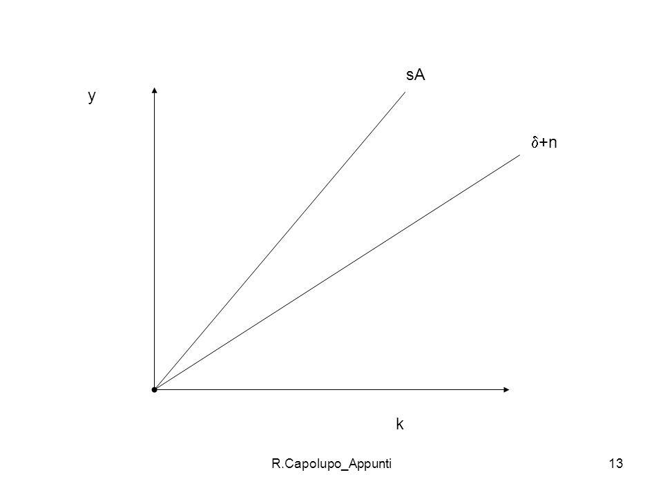 R.Capolupo_Appunti14 La crescita dipende dalle caratteristiche dei paesi Limplicazione più interessante del modello è che la crescita è country-specific.