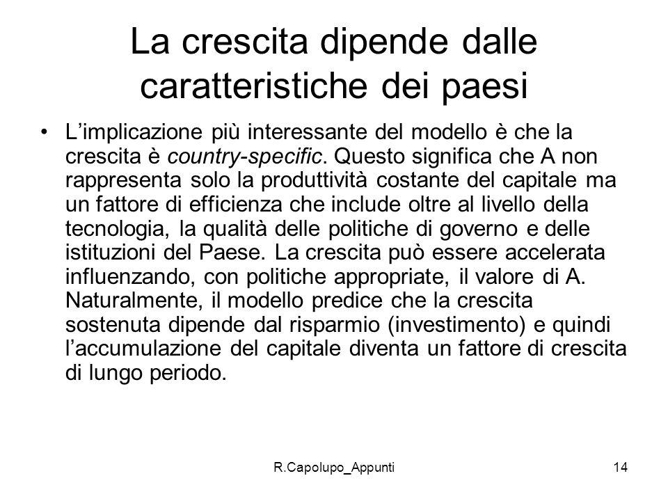 R.Capolupo_Appunti15 LIMITI Limplicazione forte del modello è che laccumulazione di capitale è il solo fattore di crescita delleconomia.