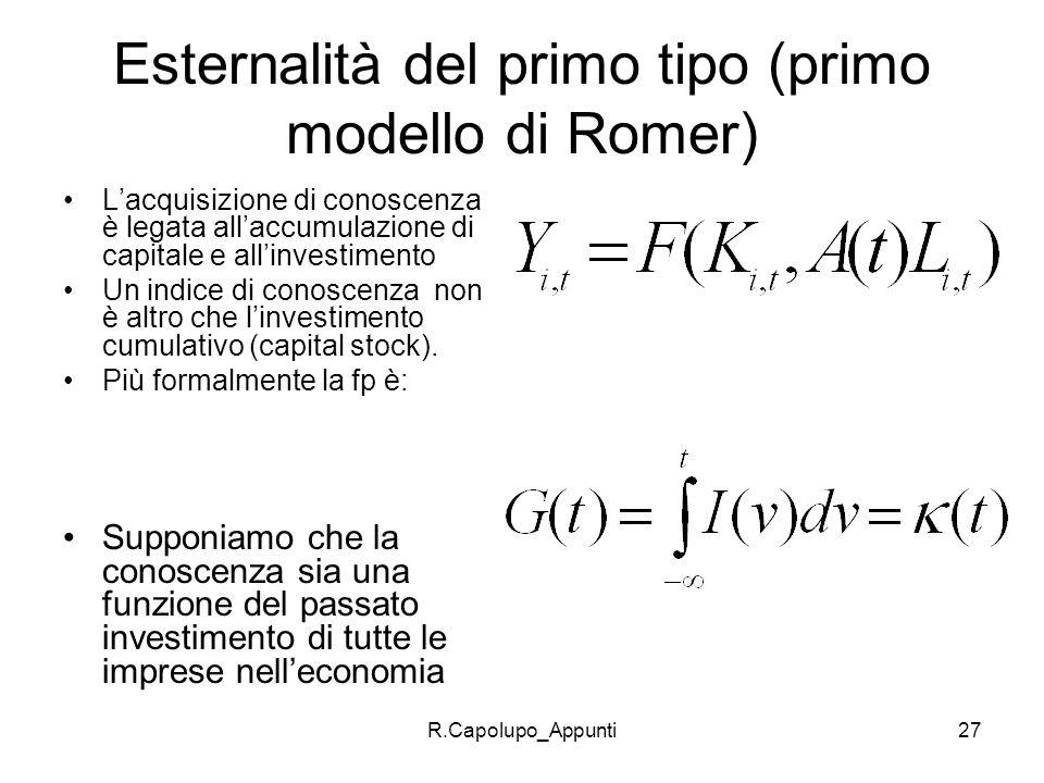 R.Capolupo_Appunti28 Arrow assume che lo stato della conoscenza dipende dal passato investimento secondo : Ne consegue che la funzione di produzione della singola impresa sarà