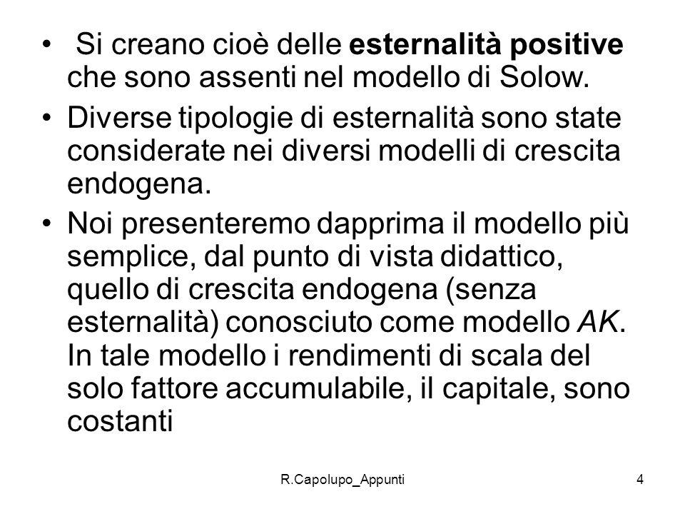 R.Capolupo_Appunti5 Nellambito della crescita endogena distinguiamo modello di crescita endogena basati sullaccumulazione di capitale Modelli basati sullinnovazione tecnologica In entrambi i casi si ha bisogno di una conoscenza teorica a priori sui meccanismi che determinano la crescita.