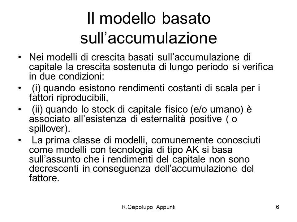 R.Capolupo_Appunti7 Peculiarità del modello I fattori non riproducibili sono assenti assumiamo che tutti I fattori siano accumulabili come avviene per il capitale fisico.