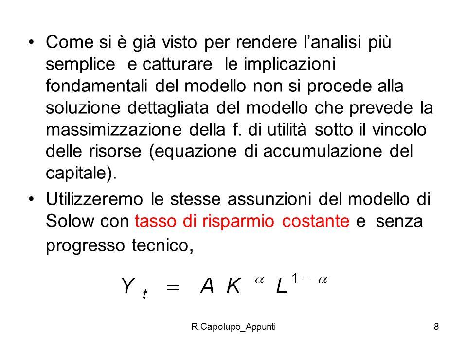 R.Capolupo_Appunti9 se si ipotizza, inoltre, che 1 si ha: dove la PMK =A Ricordando l equazione dinamica del capitale ed esprimendo tutto in termini pro capite (lettere minuscole esprimono le variabili in termini pro- capite, es.: k=K/L) abbiamo che lequazione dinamica del capitale è: