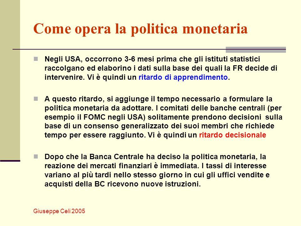 Giuseppe Celi 2005 Come opera la politica monetaria Tuttavia, nel caso degli USA, occorre almeno un anno affinchè le variazioni dei tassi di interesse facciano variare PIL e occupazione.