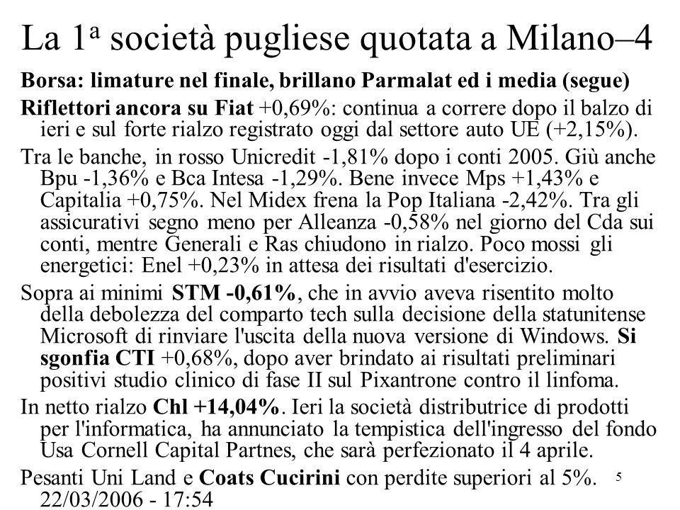 6 La 1 a società pugliese quotata a Milano–5 andamento a 6 mesi al 12-4-06