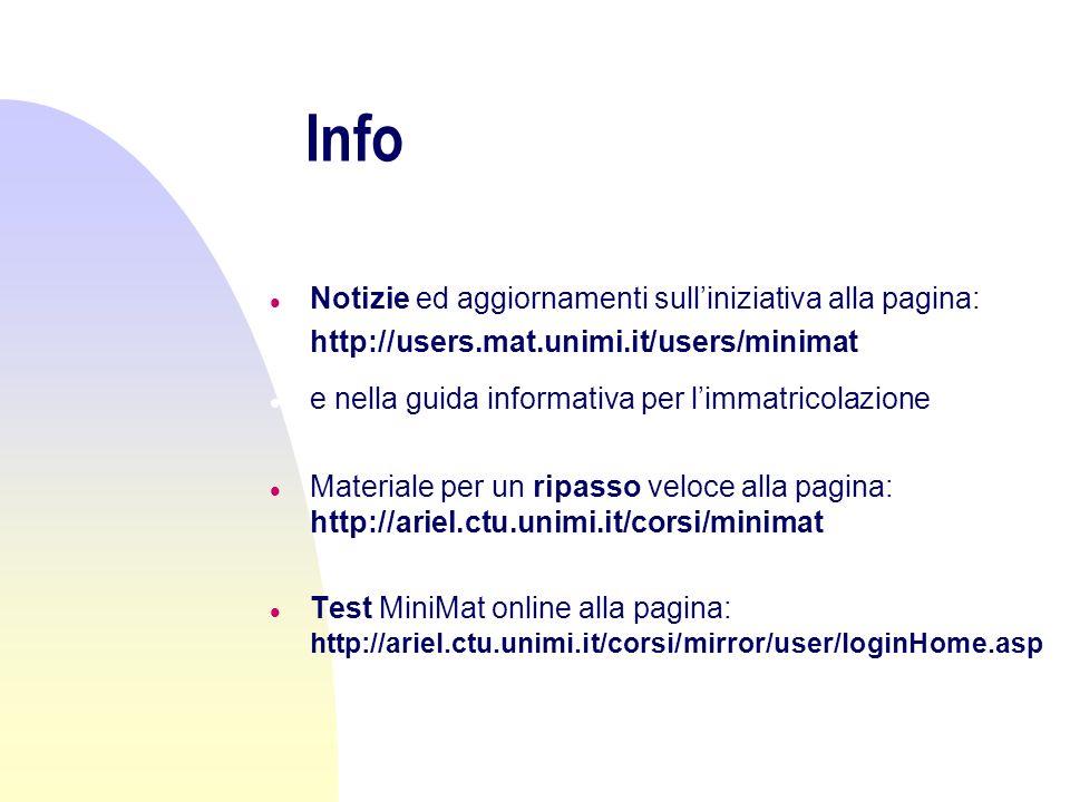 Suggerimenti e domande n allindirizzo: n destefano@mat.unimi.it n oggetto: UTENTE MINIMAT n oppure n oggetto: UTENTE MINIMAT/ INSEGNANTE n Grazie!