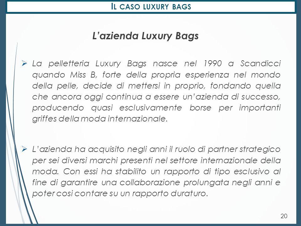 I L CASO LUXURY BAGS 21  La struttura adottata è contraddistinta da due livelli organizzativi: La struttura organizzativa