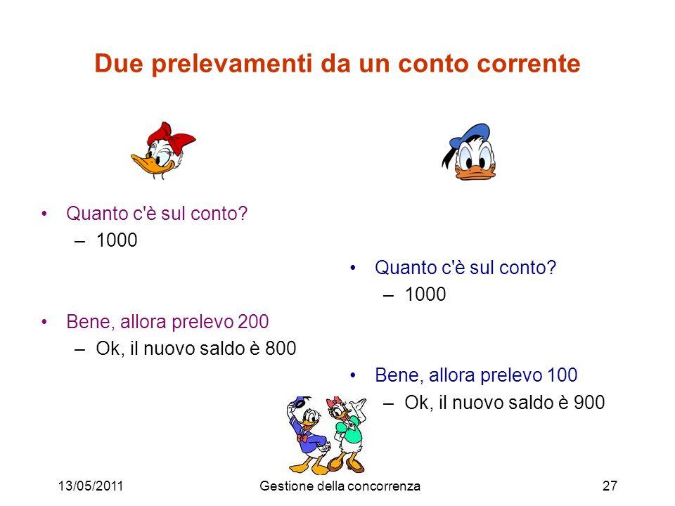 13/05/2011Gestione della concorrenza28 Schedule Sequenza di operazioni di input/output di transazioni concorrenti (tralasciando le altre operazioni) Esempi: –Paperina e Paperino leggono e scrivono lo stesso dato x, il saldo del conto (con perdita di aggiornamento) read 1 (x) read 2 (x) write 1 (x) write 2 (x) –Paperino scrive fra due letture di Paperina (letture inconsistenti) read 1 (x) write 2 (x) write 2 (y) read 1 (y)
