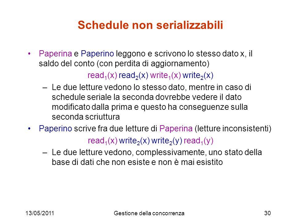 13/05/2011Gestione della concorrenza31 Idea base Individuare classi di schedule serializzabili per i quali la proprietà di serializzabilità sia verificabile a costo basso Schedule Seriali Schedule Serializzabili