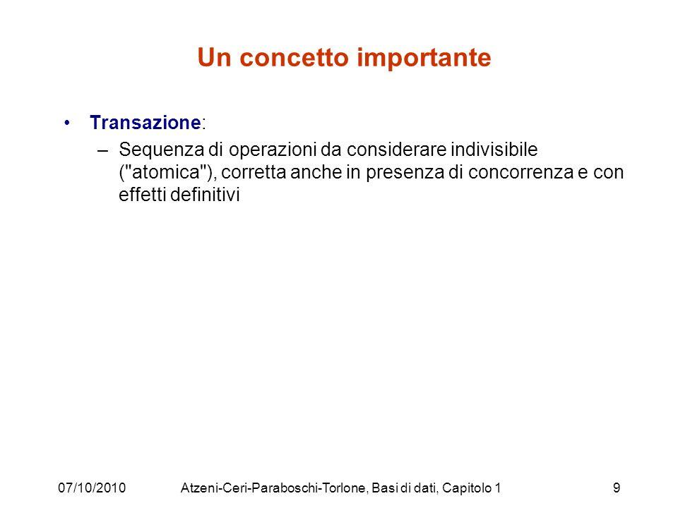 13/05/2011Gestione della concorrenza10 Transazioni, in pratica Sequenza di operazioni caratterizzata da –un inizio (non sempre esplicitato) e –da una conclusione: commit per terminare ed eseguire tutto rollback per annullare (abortire)