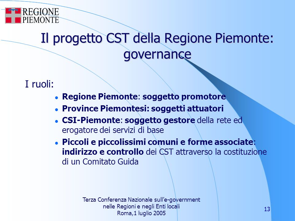 Terza Conferenza Nazionale sulle-government nelle Regioni e negli Enti locali Roma,1 luglio 2005 14 Il progetto di CST della Regione Piemonte: larchitettura