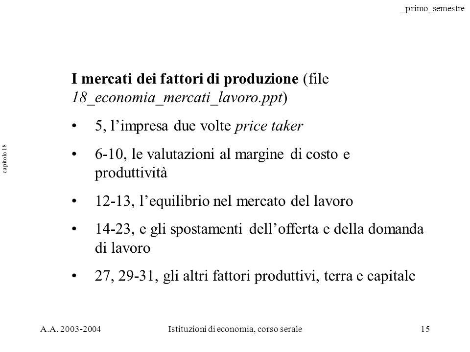 _primo_semestre A.A. 2003-2004Istituzioni di economia, corso serale16 Auguri AUGURI