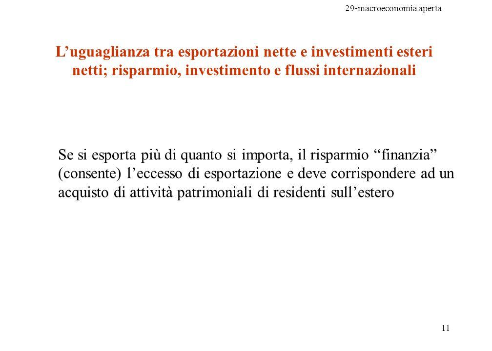 29-macroeconomia aperta 12 Ricordiamo che in una economia chiusa: da cui: con S che indica il risparmio