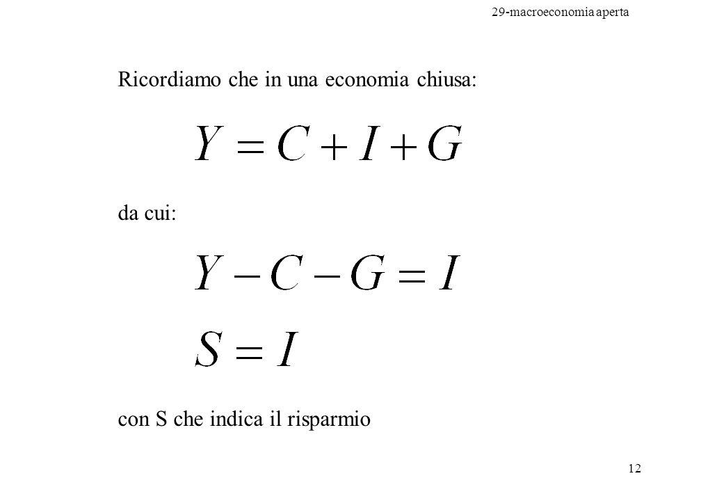 29-macroeconomia aperta 13 da cui: e anche: Risparmio = Inv.