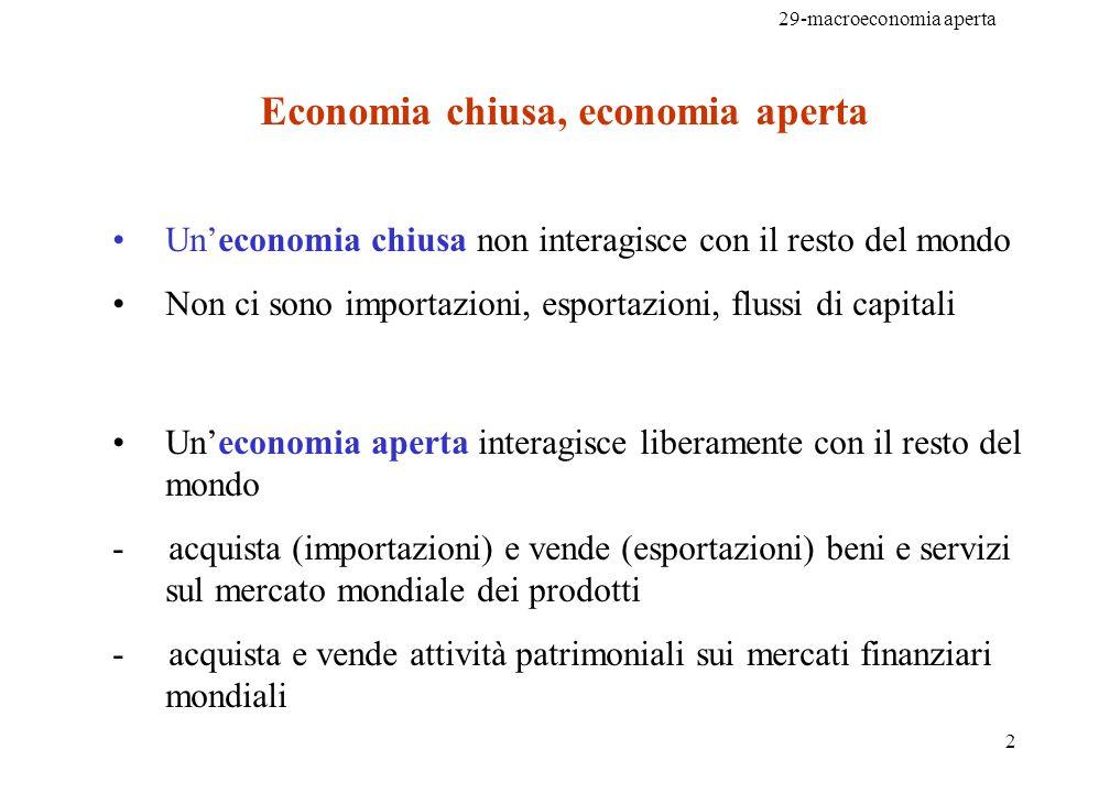 29-macroeconomia aperta 3 Esportazioni nette (NX) o Bilancia commerciale: = valore delle esportazioni meno valore delle importazioni (...