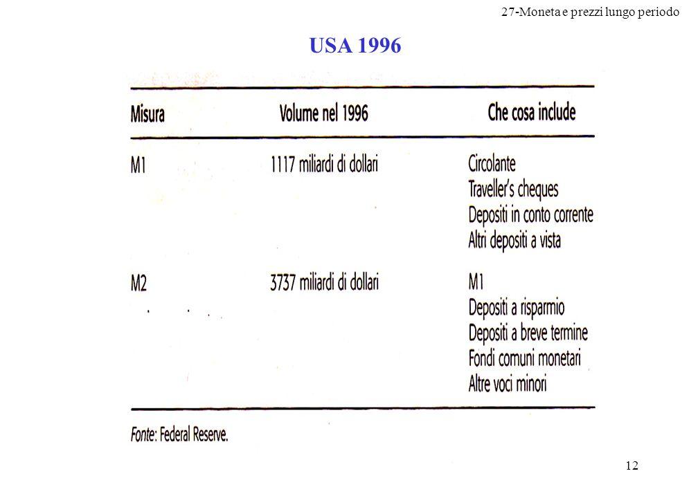 27-Moneta e prezzi lungo periodo 13 Italia 1997 La Banca d Italia provvede alla rilevazione della quantità di moneta presente nel sistema economico italiano attraverso il calcolo periodico di alcune quantità: : banconote e monete metalliche.