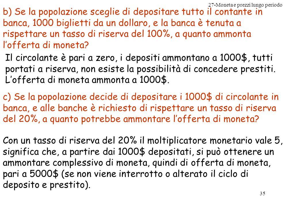 27-Moneta e prezzi lungo periodo 36 d) Con riferimento al punto precedente, quanta parte della moneta può essere creata dalle banche.