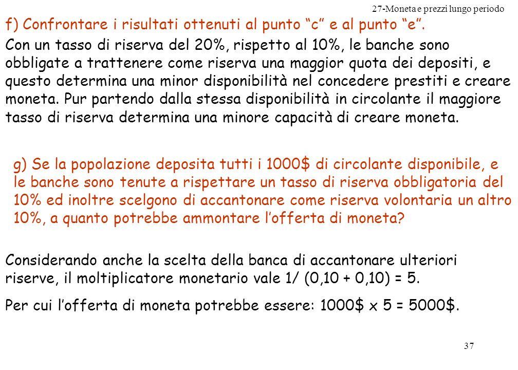 27-Moneta e prezzi lungo periodo 38 Problema n.11 pag.