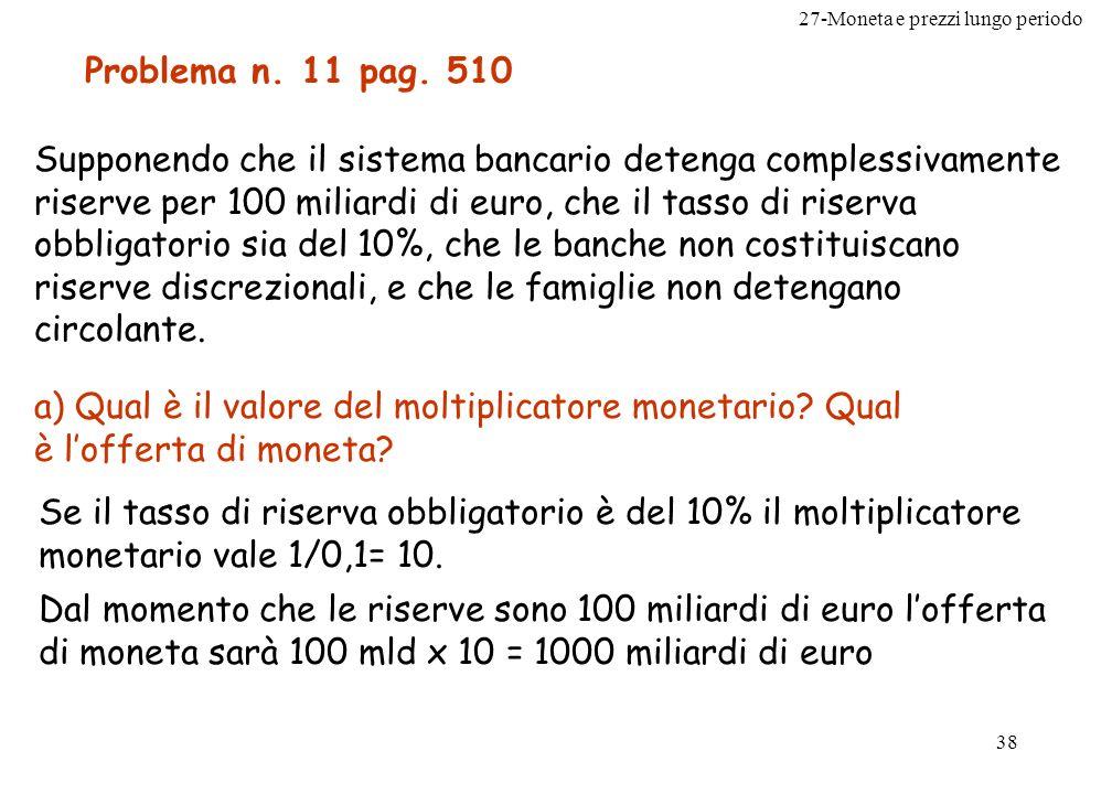 27-Moneta e prezzi lungo periodo 39 b) Se la banca centrale aumenta il coefficiente di riserva obbligatoria al 20%, come variano le riserve e lofferta di moneta.
